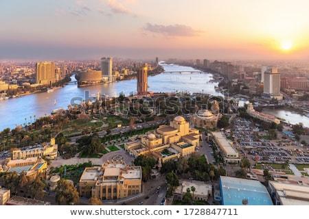 Panorama Cairo paisaje urbano puesta de sol famoso torre Foto stock © Givaga