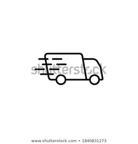 Samochód dostawczy czarny ikona polu van sylwetka Zdjęcia stock © YuriSchmidt