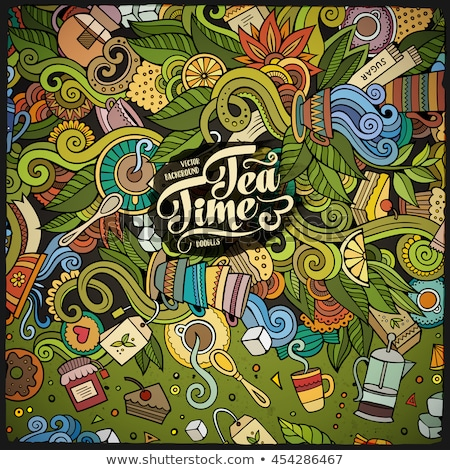 Cartoon doodles Tea time frame. Colorful, with lots of objects background Stock photo © balabolka
