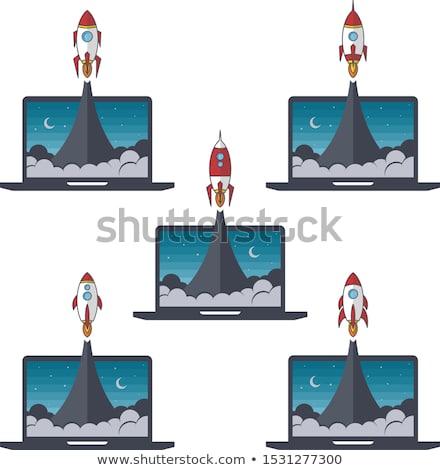 ノートパソコン ノートブック ロケット ブースター ベクトル セット ストックフォト © vector1st