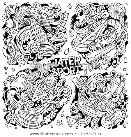 Vector doodles cartoon set of Marine combinations of objects Stock photo © balabolka