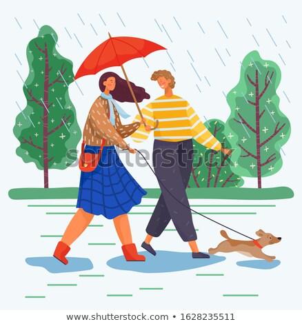 человека женщину ходьбы собака дождливый погода Сток-фото © robuart