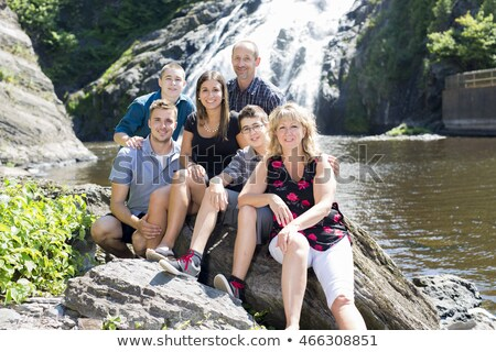 Family Waterfall Having Great Time Zdjęcia stock © Lopolo