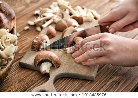 Ehető gombák konyha kés vágódeszka főzés Stock fotó © dolgachov