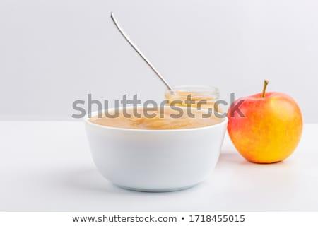 cute · bebé · manzana · frutas · nino · azul - foto stock © gewoldi