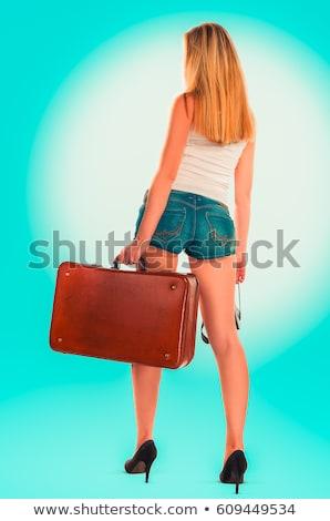 blonde girl hitchhiker Stock photo © zastavkin