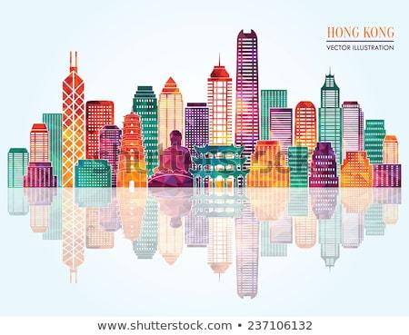 Wybrzeża krajobraz Hongkong słońce morza tle Zdjęcia stock © kawing921