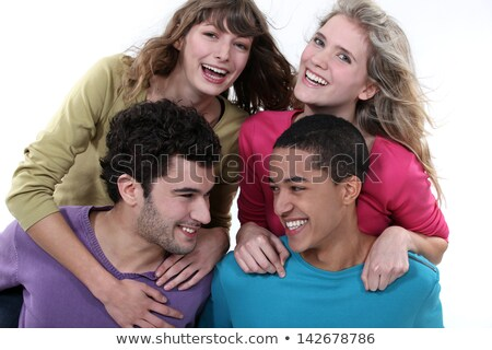 elated young foursome of students Stock photo © photography33