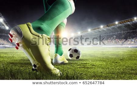 Voetballer man uniform bal geïsoleerd grijs Stockfoto © pressmaster