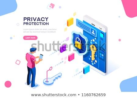 Stockfoto: Document · veiligheid · knop · moderne · woord