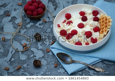 raspberry muesli dessert on a towel stock photo © Rob_Stark