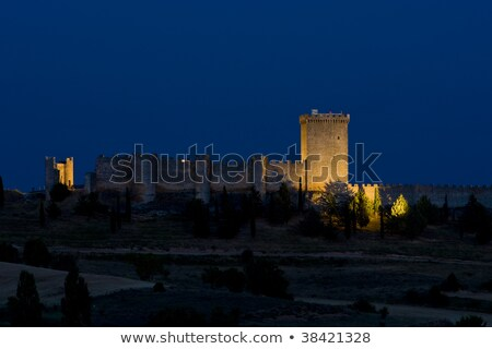 Penaranda de Duero Castle at night, Burgos Province, Castile and Stock photo © phbcz