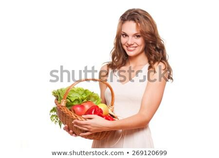 улыбающаяся · женщина · корзины · плодов · улыбаясь - Сток-фото © williv