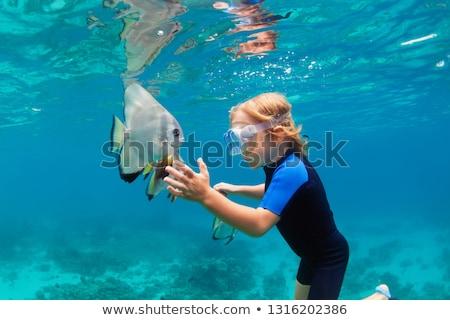 Młody chłopak snorkeling ocean plaży dzieci morza Zdjęcia stock © meinzahn
