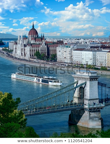 Cruise ships on Danube river in Budapest Stock photo © pixachi