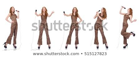 Fiatal női énekes fehér buli boldog Stock fotó © Elnur
