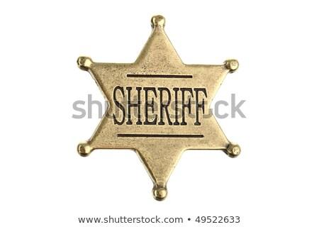 Distintivo branco metal justiça estrela crime Foto stock © leonido