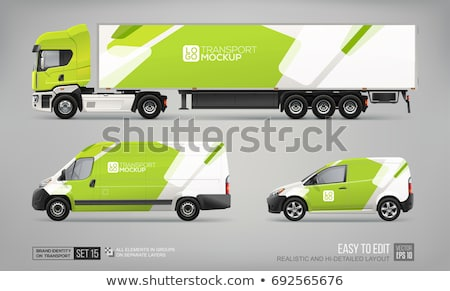 Green  truck. Lorry. Trailer. Vector illustration Stock photo © leonido