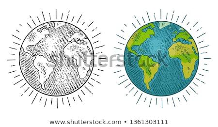 Vintage wereldbol oude kaart wereld Stockfoto © janaka