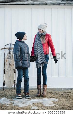 一緒に · 冬 · 2 · 姉妹 · 時間 - ストックフォト © jeancliclac