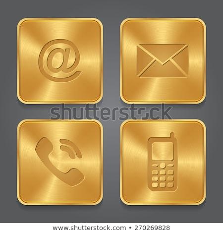 Foto stock: Enviar · dourado · vetor · ícone · botão · tecnologia