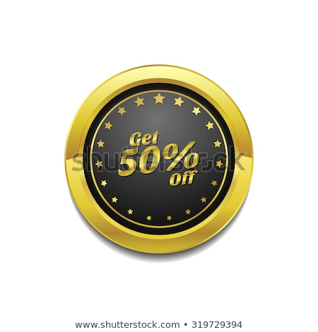 get 50 percent golden vector icon button stock photo © rizwanali3d