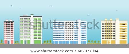 жилой · здании · Windows · огромный · современных · небе - Сток-фото © tang90246
