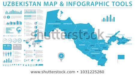 Térkép Üzbegisztán zászló szimbólum fehér utazás Stock fotó © mayboro1964