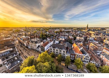 Amsterdam · kanal · gece · Hollanda · su · turuncu - stok fotoğraf © andreykr