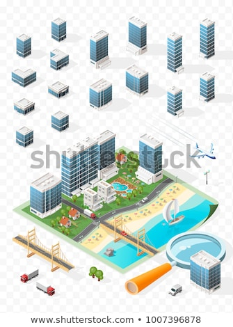 Stock photo:  isometric city buildings, landscape, Road and river