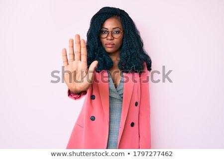Zakenvrouw afwijzing hand geïsoleerd business vrouw Stockfoto © fuzzbones0