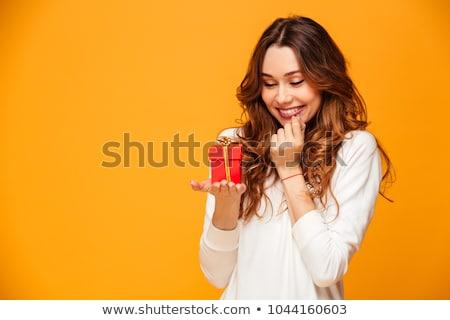 prachtig · jonge · brunette · vrouw · geschenkdoos · portret - stockfoto © lithian