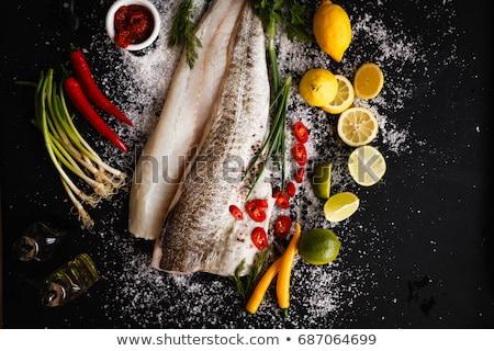 フィレット · ハム · 野菜 · ソース · ディナー · 食べる - ストックフォト © zhekos