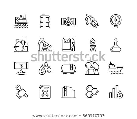Stacji benzynowej line ikona internetowych komórkowych infografiki Zdjęcia stock © RAStudio