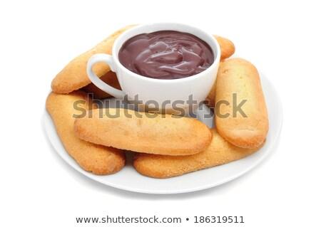 Forró csokoládé tipikus sütemények macska közelkép csésze Stock fotó © nito