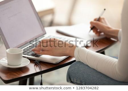 Independiente texto bloc de notas oficina herramientas mesa de madera Foto stock © fuzzbones0