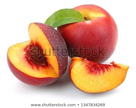 Nektarin izolált fehér levél csoport gyümölcsök Stock fotó © Serg64