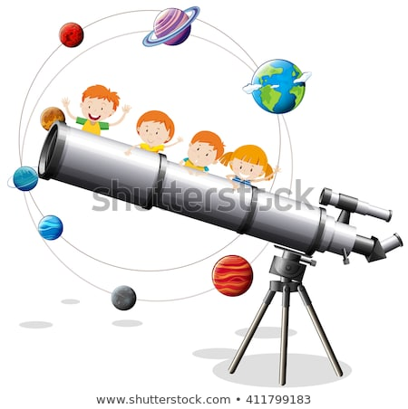 Gigante telescopio illustrazione bambino sfondo arte Foto d'archivio © bluering