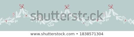 karácsony · üdvözlőlap · koszorú · kézzel · rajzolt · kalligráfia · kézzel · írott - stock fotó © trishamcmillan