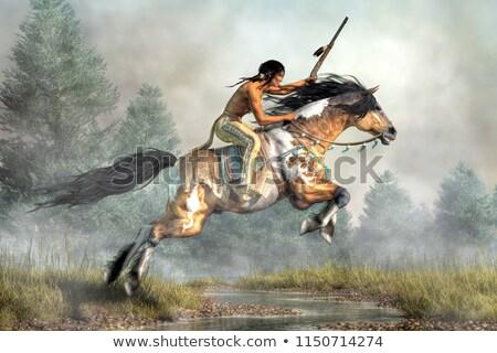 インド ハンター 馬に乗って 実例 自然 男性 ストックフォト © adrenalina