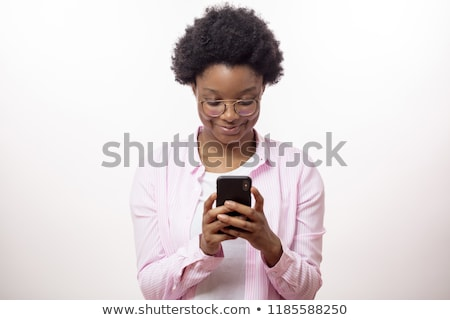 alegre · dama · teléfono · mujer · cara - foto stock © deandrobot