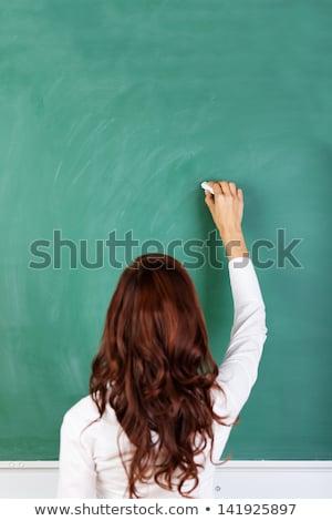 dziewczyna · rysunek · zielone · Tablica · widok · z · tyłu · edukacji - zdjęcia stock © andreypopov
