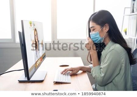 ázsiai orvos hív segítség megszégyenített teljes alakos Stock fotó © RAStudio