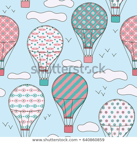 Hot Airballoon with Basket in Sky Seamless Pattern Stock photo © robuart