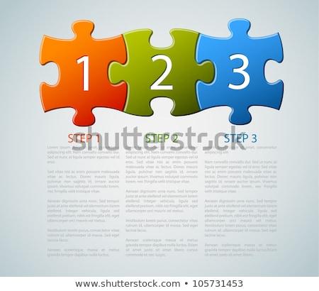 Tres piezas del rompecabezas piezas rojo pieza Foto stock © Oakozhan