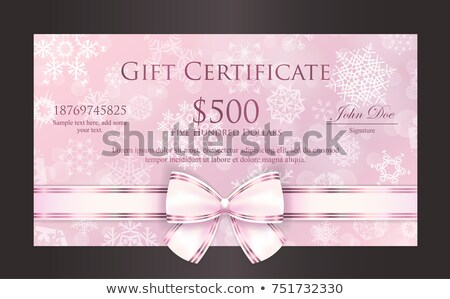 Luxury pink quartz Christmas gift card with white snowflakes in background and cream ribbon as decor Stock photo © liliwhite