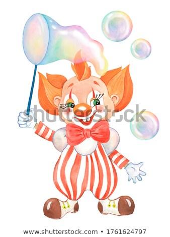 Bohóc buborékfújás férfi jókedv boldogság buborék Stock fotó © IS2