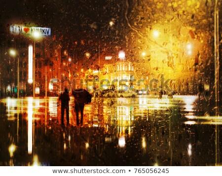 beautiful woman at rainy night stock photo © anna_om