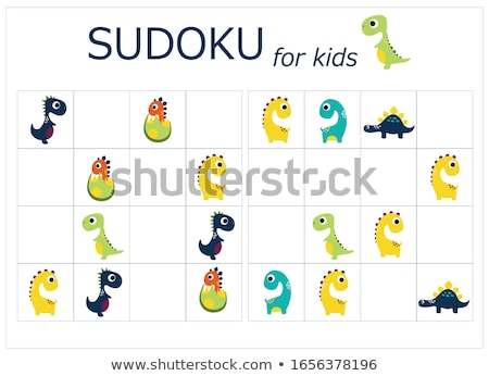Colorful sudoku puzzles with cartoon dinosaurs Stock photo © adrian_n