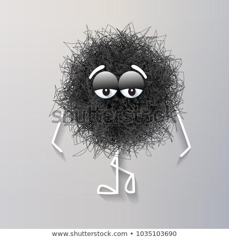 Bolyhos aranyos fekete gömb alakú lény gondolkodik Stock fotó © balasoiu